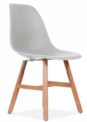 Eames Inspired DSW Chair With A Light Grey Seat And Oxford Legs Front Angl;e View
