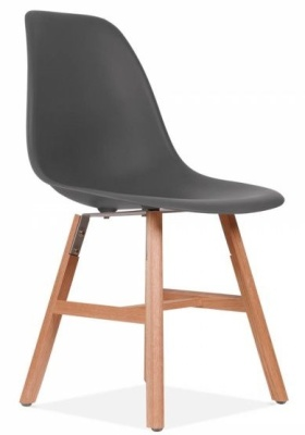 Eames Inspired DSW Chair Wit A Dark Grey Seat And Oxford Legs Front Angle