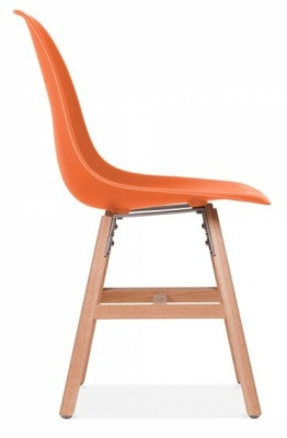 Eames Inspired DSW Chair With An Orange Seat And Oxford Legs Side View