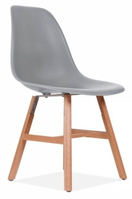 Eatmes Inspired DSW Chair With Oxford Legs And A Copol Grey Seat Front Angle