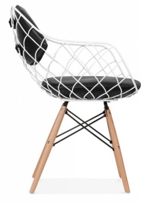 Paris Wire Chair With A White Frame Side View