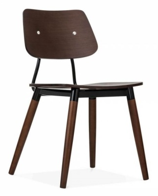 Amy Chair Dark Wood Black Accents Front Angle View
