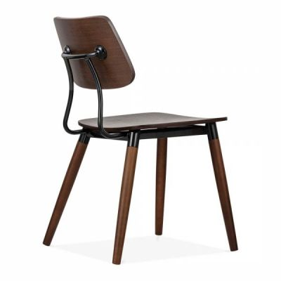 Amy Chair Adrk Wood Black Accents Front Angle View