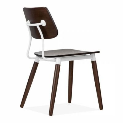 Amy Chair Rear Angle View Dark Wood With White Accents