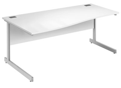 Abacus Left Hand Wave Desk In White