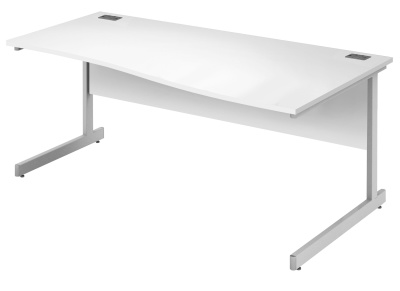 Abacus Right Hand Wave Desk In White
