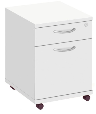 Abacus Two Drawer Mobile Pedestal In White