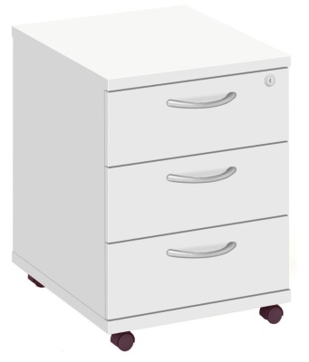 Abacus Three Drawer Mobile Pedestal In White