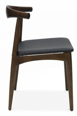 Elbow Dining Chair With A Black Faux Leather Seat