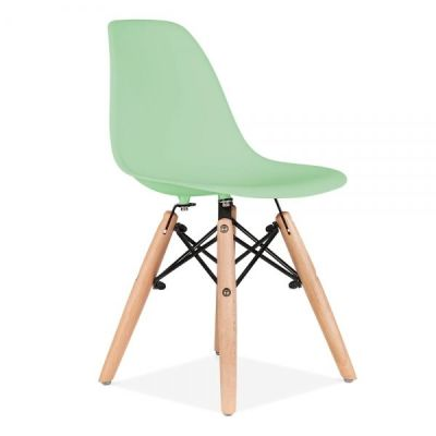 Eames Inspired Junior Dsw Chair With Front Angle Peppermint Green