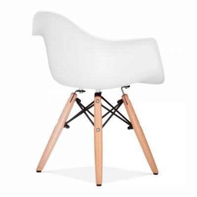 Eames Inspired DAW Chair Rear Angle White Shell