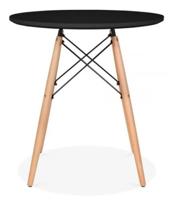 Eames Inspired DSW Table With A Black Top And Natural Legs 3
