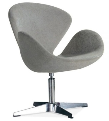 Swan Style Chair Grey Fabric
