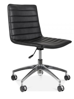 Deco Black Leather Chair Front Angle