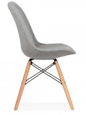 Eames Inspired Dsw Chair Grey Upholstery Side View