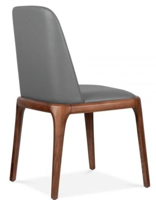 Luxo Grey Leater Dining Chairs Rear Angle