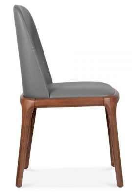 Luxo Grey Leather Dining Chair Side View