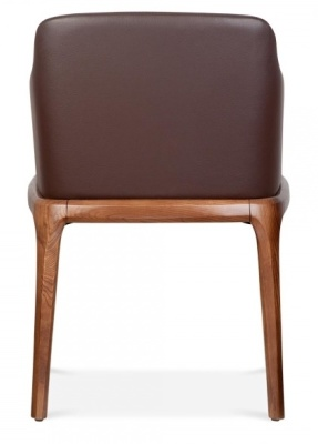 Luxo Brown Leather Dining Armchair Rear View