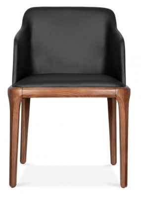 Luxo Black Leather Armchair Friont View