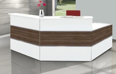 Atlanta Walnut And White Reception Desk 4