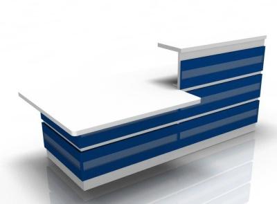 Visage Reception Desk 2 With Blue Cladding