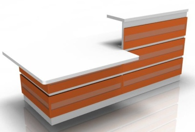 Visage Reception Desk 2 With Orange Cladding