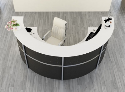 Genua Plus Half Moon Reception Desk With Anthracite Metal Fronts
