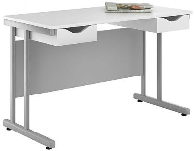 Uclic Double Derawer Desk With White Fronts