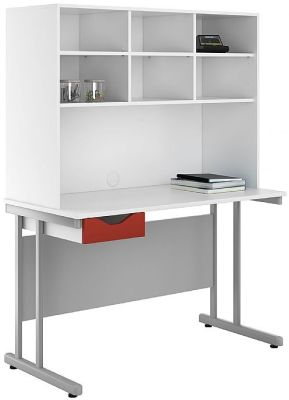 Uclic Desk And Open Storage Hutch With A Red Drawer Fropnt