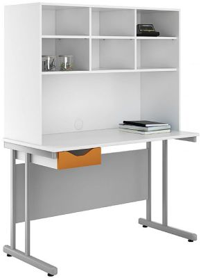 Uclic Desk And Storage Hutch With An Orange Drawer Front