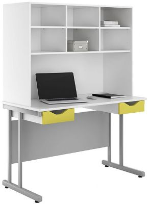 Uclic Double Drawer Desk And Over Shead Storage Hutch Lime Fronts