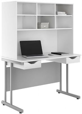 Uclic Double Ddawer Desk With White Fronts And Overhead Storage Hutch