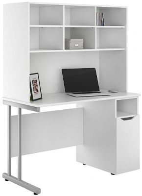 Uclic Desk With A Cupboard With A White Door And Overhead Storage Hutch