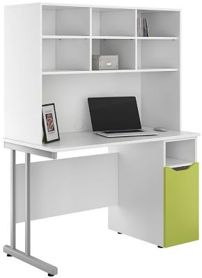 Uclic Desk With A Cupboard With A Lime Green Door And Overhead Storage Hutch