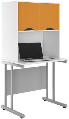 Uclic 800mm Desk With Overhead Orange Doors