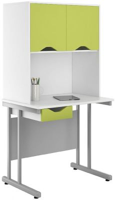 Uclic Desk And Overhead Drawer And Drawer With Lime Fronts