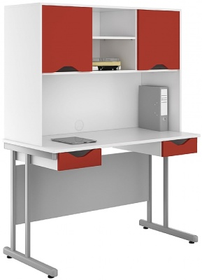 Uclic Double Drawer Desk And Overhead Cupboard With Red Fronts