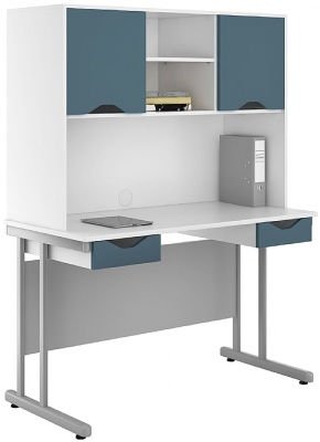 Uclic Double Drawer Desk With Overhead Cupboard Steel Bue Fronts