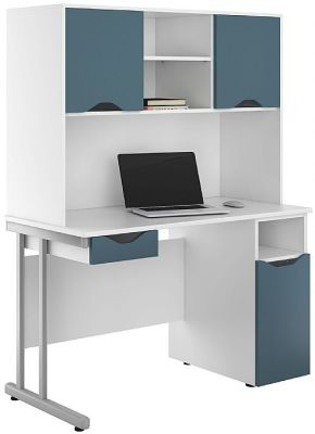 Uclic Desk With Cupboard And Drawer In Silver Blue