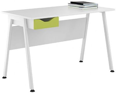 Uclic Aspire Desk With A Lime Green Drawer Ffront