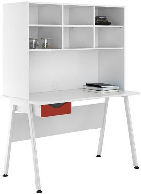UCLIC Aspire Desk With Open Hutch And Red Drawer Front