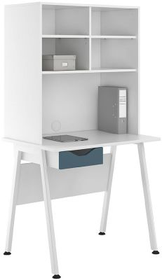 Uclic Aspire Desk With Open Hutrch And Steel Blue Drawer Front
