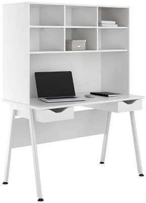 UCLIC Desk With Two White Drawers And Overhead Storage