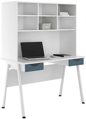 UCLIC Aspire Desk With Steel Blue Drawer Fronts And Overhead Storage