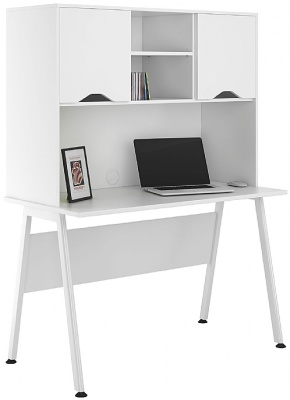 UCLIC Aspre Desks With Overhead Hutch And White Doors