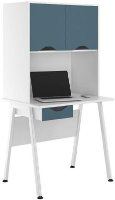 UCLIC Aspire Desk With Steel Blue Doors And Drawer