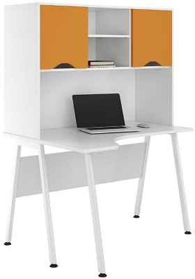 UCLIC Aspire Corner Desk With Orange Doors