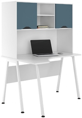 UCLIC Aspire Cornre Desk With Steel Blue Doors