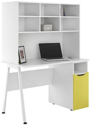 UCLIC Aspire Cupboard Desk With A Yellow Door And Open Hutch
