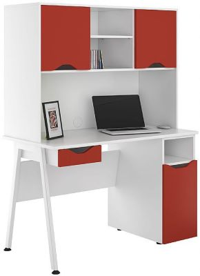 UCLIC Aspire Desk With Red Doors And Drawer Front